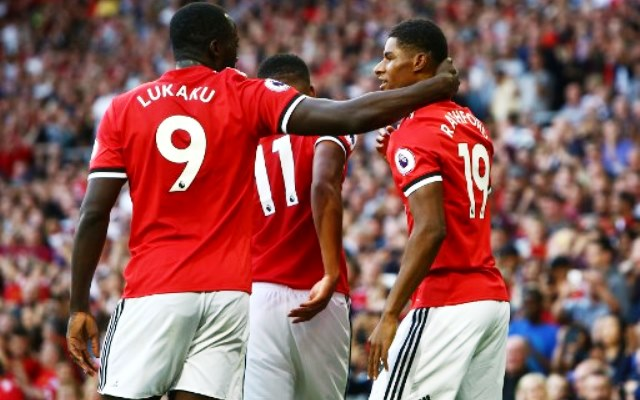 Manchester United's English striker Marcus Rashford (R) celebrates with Manchester United's Belgian striker Romelu Lukaku after scoring the opening goal of the English Premier League football match between Manchester United and Leicester City at Old Trafford in Manchester, north west England, on August 26, 2017. / AFP PHOTO / Geoff CADDICK / RESTRICTED TO EDITORIAL USE. No use with unauthorized audio, video, data, fixture lists, club/league logos or 'live' services. Online in-match use limited to 75 images, no video emulation. No use in betting, games or single club/league/player publications.  /