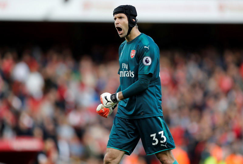"Soccer Football - Premier League - Arsenal vs AFC Bournemouth - London, Britain - September 9, 2017   Arsenal's Petr Cech celebrates after the match    REUTERS/Darren Staples  EDITORIAL USE ONLY. No use with unauthorized audio, video, data, fixture lists, club/league logos or ""live"" services. Online in-match use limited to 75 images, no video emulation. No use in betting, games or single club/league/player publications. Please contact your account representative for further details."